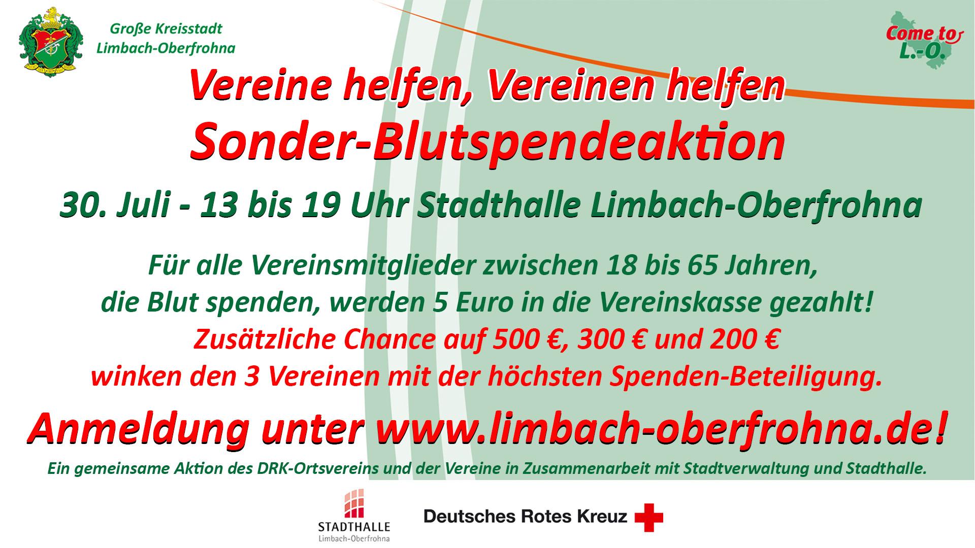 Sonderblutspende Stadthalle Limbach-Oberfrohna